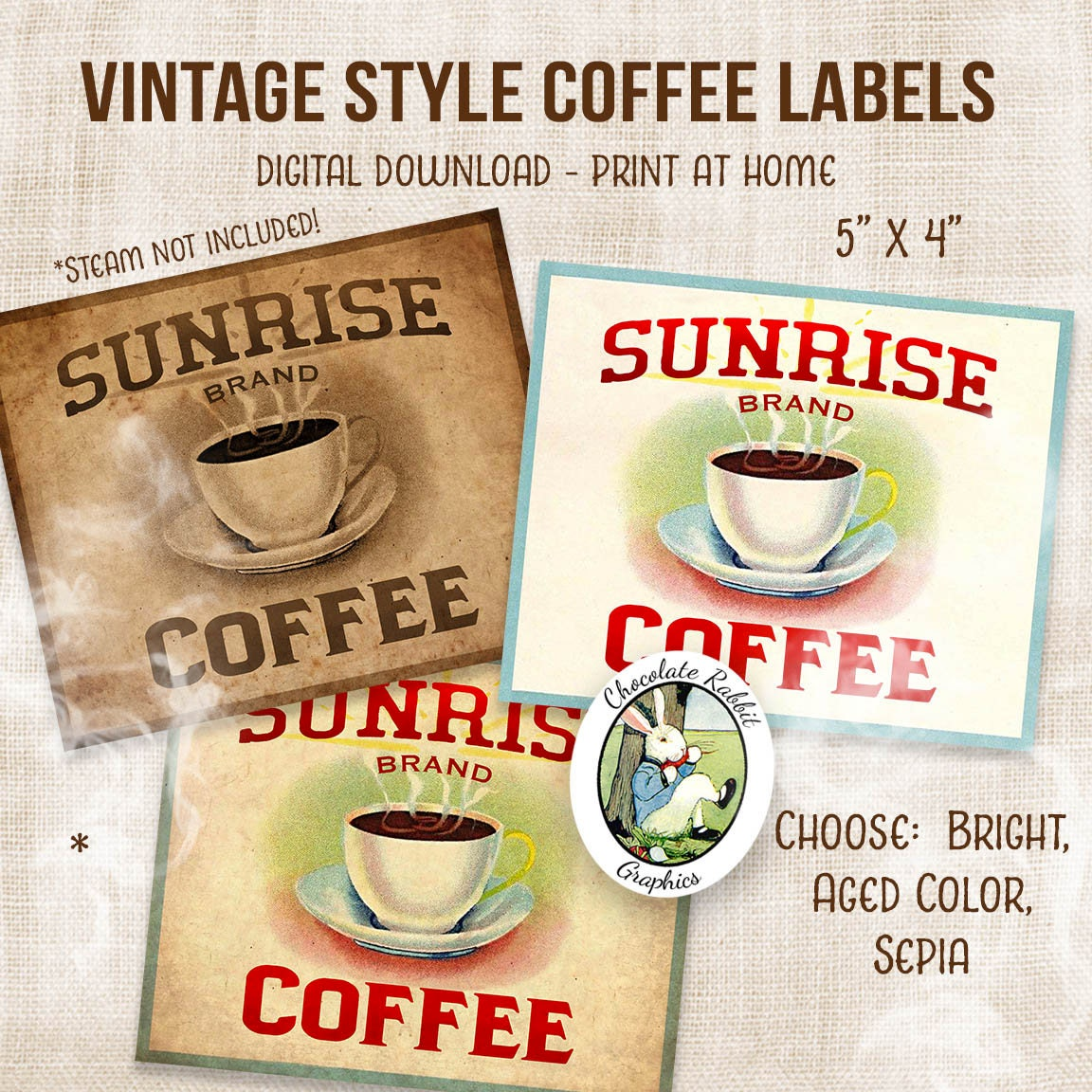 Coffee Label Digital Download Printable Vintage Style
