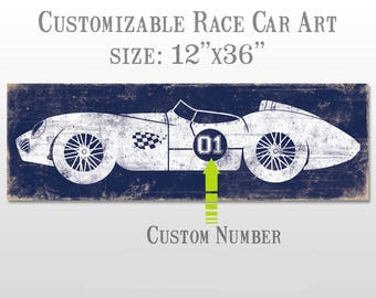 Vintage Race Car Print - Perfect for Boys Room Wall Art - Customizable #1