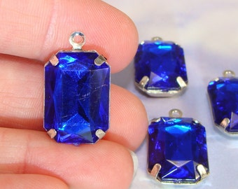 6 LARGE Blue Rhinestone Set Stone Charms Sapphire Crystal Plastic Rectangle Faceted 18mm x 14mm SILVER Pronged Setting Jewelry Supplies