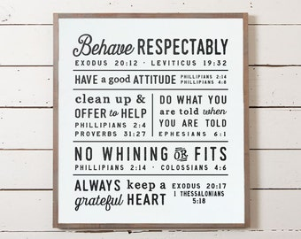 Scripture Family Rules, Kids Rules, House Rules, Bible Verse Sign, Ten Commandments Sign, Farmhouse Rules, Christian Family,  Bible Rules