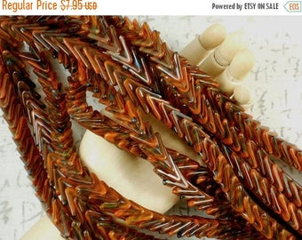 SALE LaST 50 Pcs Chevron V Beads Spacers Rust and Browns Glass Snake Scales (C293)