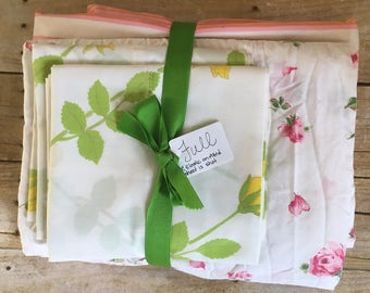Vintage Remixed Full sheet set in stripes and flowers / full fitted sheet (damaged) / full flat sheet / vintage pillowcase