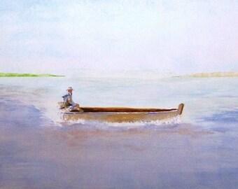 Original Watercolor Painting , Clear Skies , Matted Watercolor Painting , Man Fishing
