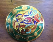 ON SALE Vintage Modernist Large Enamel Multi Color Pendant Pin