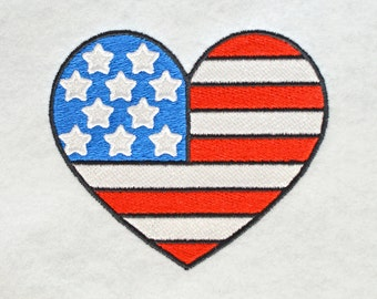 Patriotic Heart Embroidery Design, INSTANT DIGITAL DOWNLOAD, for Machine Embroidery 4x4