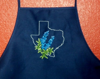 Apron with Texas Bluebonnet Embroidered Cross Stitch Design Barbecue apron