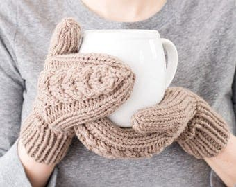 Cable Knit Mittens, Tan Wool, Hand Knit Winter Accessory - READY TO SHIP - Skyland Mittens (Tan)