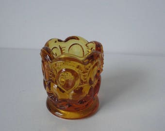 Vintage Amber Glass Toothpick Holder.