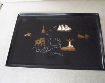 Vintage Serving Tray Collectible Revolutionary USA History Rare Couroc of Monterey Mid Century Modern