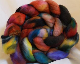 Hand dyed Organic Polworth spinning wool/fiber/roving 4.2 oz/118 grams #103