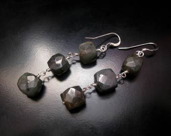 Labradorite Long Earrings, Faceted Labradorite Cubes, Sterling Silver, Labradorite Jewelry, Blue Flash Labradorite, Wire Wrapped Labradorite