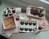 Dollhouse miniature making Valentine cookies