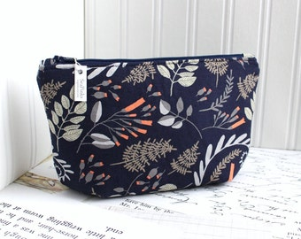 Navy Blue Floral Cosmetic Bag Makeup Bag Floral Zipper Pouch Organizer Modern Print