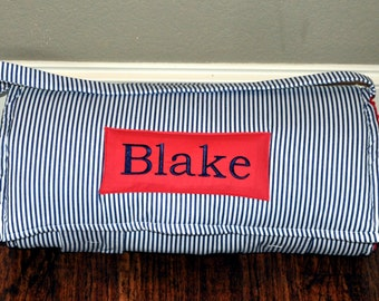 Nap Mat - Monogrammed Navy and White Vertical Stripe Nap Mat with a Red Minky Dot Blanket