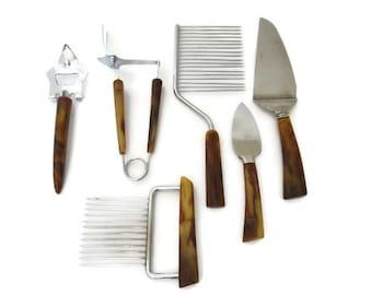 Vintage Bakelite Kitchen Tool Utensil Lot, 6 Pieces, Bottle Opener, Retractable Fork, Cake Rake, Cheese Knife, Pie Knife, Meat Fork