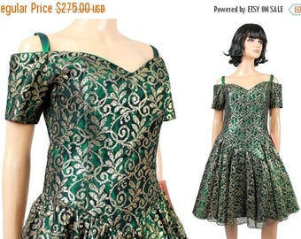 ON SALE NOS 80s Prom Dress Sz 8 M Vintage Gold Lace Green Taffeta Short Party Gown Nwt Deadstock New Old Stock Free Us Shipping