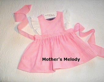 Pink Gingham Pinafore Dress with eyelet fabric flutter sleeves.  Size 12 months/1T. Ready to Ship.