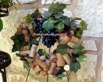 Wine Cork Wreath - centerpiece, rustic wedding, wine tasting, hostess gift