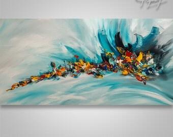 "Abstract Modern Original Painting Art Palette Knife Large Painting Abstract Painting Catalin Painting Wall Art Wall Decor Painting 48"""