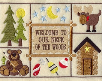 Welcome To Our Neck of the Woods Custom Machine Embroidery Sampler