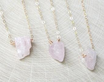 Morganite Necklace, Rose Gold, Blush Pink Aquamarine, March Birthstone, Rough Gemstone Jewelry, Raw Crystal,Rustic Gemstone, Natural Organic