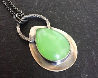 Nephrite Jade & Oxidized Sterling Silver Long Pendant