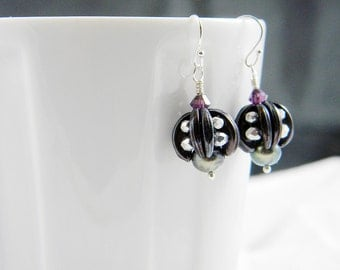 "READY TO SHIP Amethyst Crescent Black Pearl Beadweaving Earrings ""Little Lanterns"""