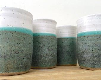 Rustic Tumblers, Pottery Cups, Ceramic Tumblers, Stoneware, Tumbler, Set of 4, Handmade, Farmhouse, Pottery, Tumbler