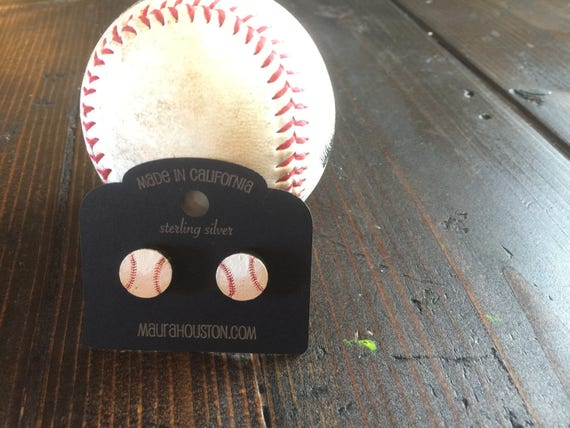 Hand painted baseball stud earrings