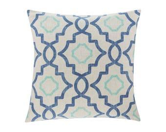 BLUE Pillow Cover.Decorator Pillow Cover.Home Decor.Large Print. TALBOT HARBOR. Cushions. Cushion.Pillow. Premier Prints