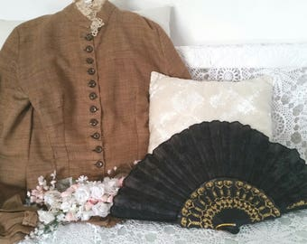 black victorian fan, 90s does victorian, steampunk vampire cosplay, dark black colour, edwardian fan, ladies black fan