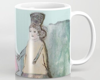 Mug Art, coffee mugs ceramic. Home drinkware Art, Art breakfast mugs, turquoise pink, buildings andalusian girl mug