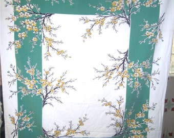 1950s PRINT KITCHEN TABLECLOTH - Yellow Cherry Blossoms