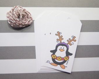 Christmas Gift Tags Penquin Set of 10 Favor Holiday Gift Wrap - T553