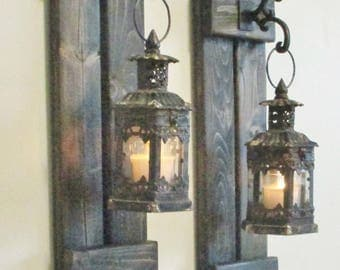 NEW ..Rustic Primitive Farmhouse Wood Wall Decor... 2  Hanging Antiqued and Rusty..Distressed  Black Lanterns..Lantern Sconce