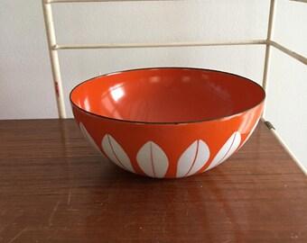 "Vintage Cathrineholm Lotus Ware Bowl Orange White Greta Prytz Kittelsen Norway 5.5"" Free Shipping"