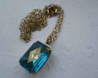 Aqua Glass And Crystal Vintage Octagonal Art Deco-Style Gem Necklace