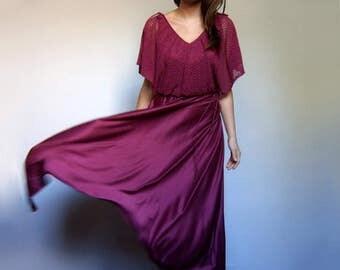 Vintage 70 Red Violet Maxi Dress Goddess Dress Split Sleeve Boho Hippie Floor Length Dress - Small S