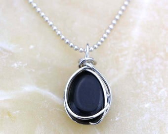 Rainbow Obsidian Pendant Necklace - Black Gemstone Nugget Wire Wrapped with Sterling Silver