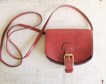 vintage leather cross body mini bag oxblood