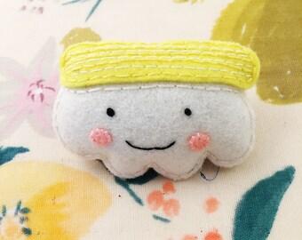 Egg Nigiri Brooch - handmade hand sewn embroidered wool felt sushi pin accessory