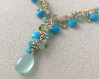 Semiprecious Gemstone Necklace - Turquoise, Chrysoprase, Peridot, Apatite, Chalcedony, Moonstone Gemstone Pendant Necklace in Gold Fill