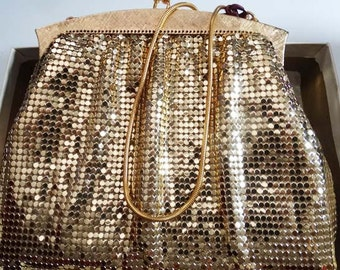 FREE SHIP All New Whiting and Davis Gold Mesh Handbag in Box - New Old Stock (5-0012)