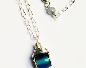 Mood Necklace   Mood Jewelry   Sterling Silver Mood Necklace  or 14K Gold Fill Mood Necklace with Labradorite