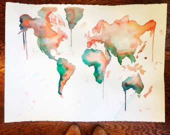"ORIGINAL Deep discounted ""BLOOPER"" watercolor world map painting sized 22 x 30"""