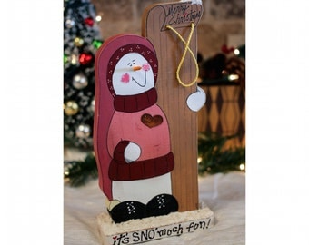 "It's SNO' Much Fun! - Wooden Snowman & Sled 11"" - Merry Christmas - Wood Holiday Tabletop Decoration with Distressed Finish"