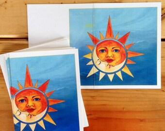 6 blank cards - Sun and Moon