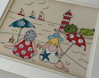 Bathing Beauties by Lillyblossom.  Handmade Embroidered Framed Textile Art seaside scene lighthouse made to order.