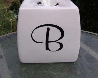 Monogramed Glazed Tissue Box Cover Black Letter B