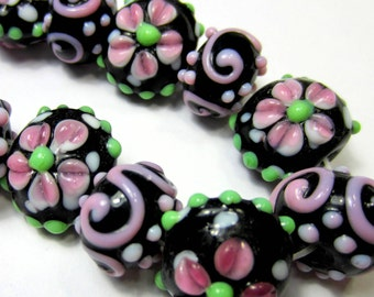 Handmade lampwork bead set 15 black glass beads w pink roses lampwork flower beads swirls bumps (SB3)